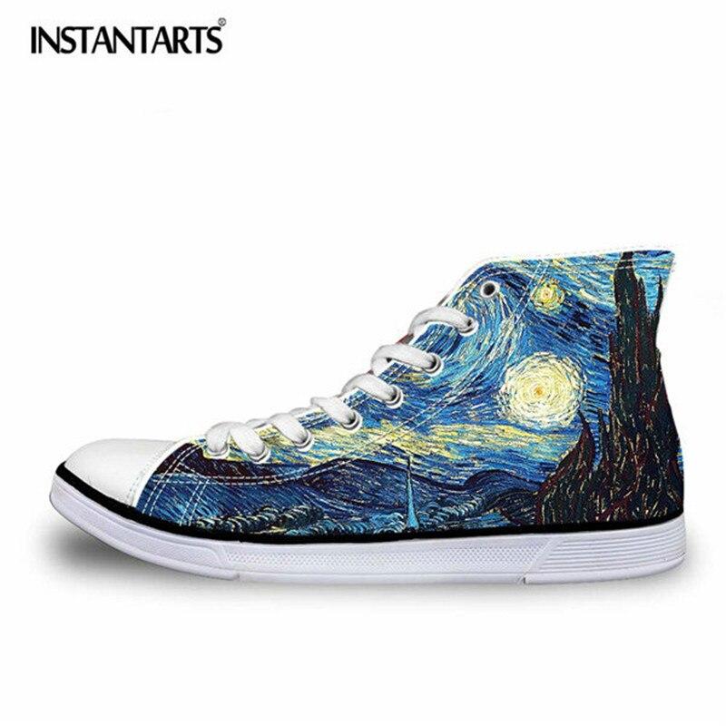 INSTANTARTS Fashion Men High Top Canvas Shoes Cool 3D Hand Paint Art Printing Lace up Vulcanize Shoes Male Comfort Flat Shoes