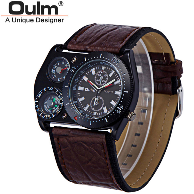 Mens Watches Hot Brand OULM Leather Band Military Sports Clock Male Analog Army Quartz Gifts Watch Relogio Masculino Erkek Saat oulm 3548 authentic mens 5 5cm large dial watches leather band dual time japan movt quartz watch relogio masculino grande marca