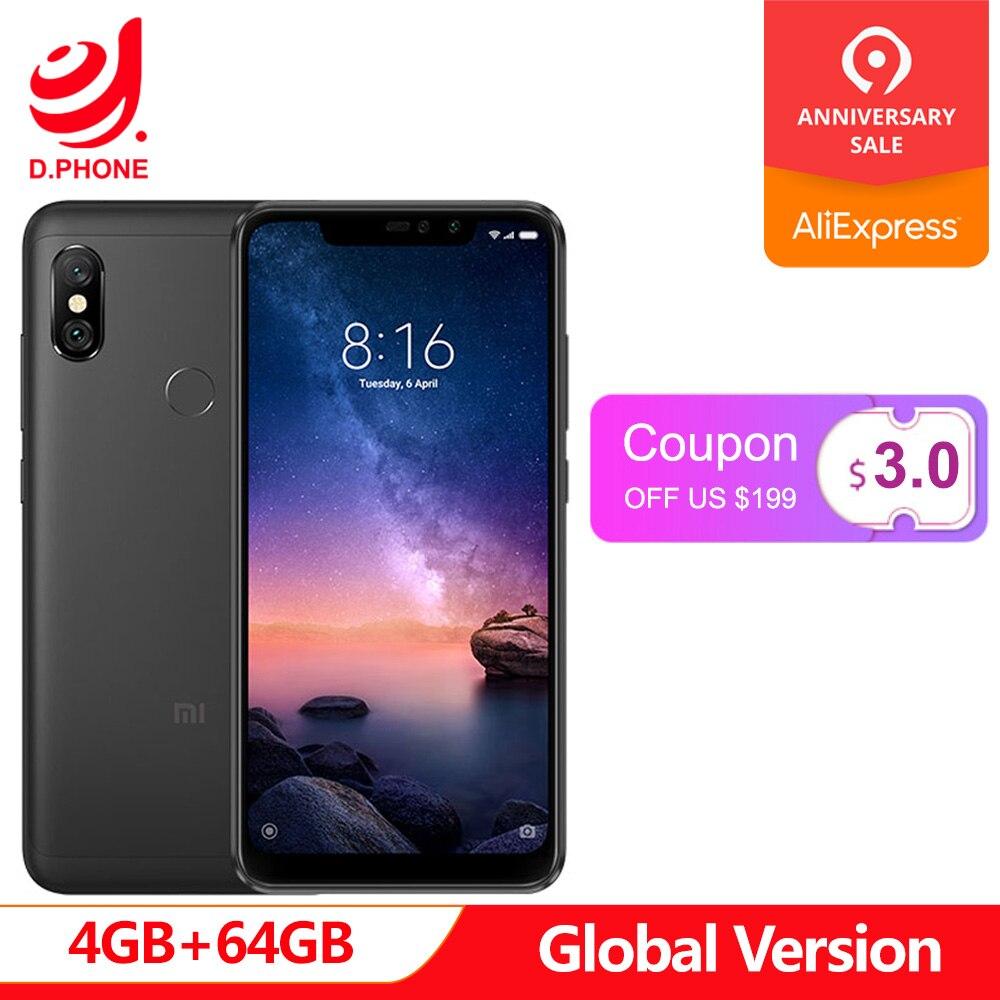 Turquie 3 ~ 7 jours ouvrables Version mondiale Xiaomi Redmi Note 6 Pro 4 GB 64 GB Snapdragon 636 Octa Core écran complet 4000 mAh Smartphone