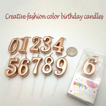 1 Pcs Rose Gold Mini Digital 0-9 Number Birthday Candles Cake Candle Decoration Cute Kids Party