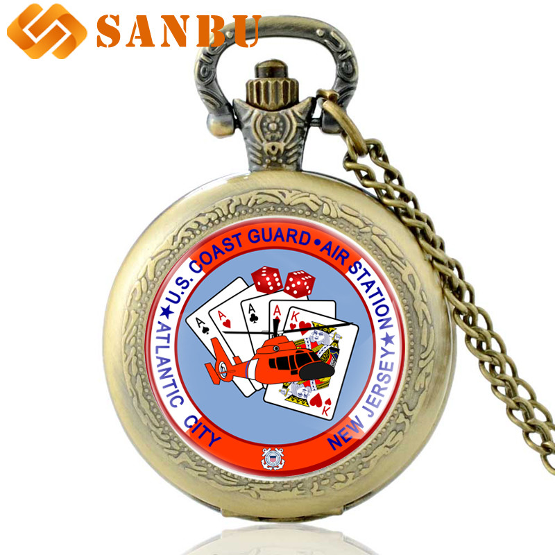 Vintage Bronze US Coast Guard Air Station Quartz Pocket Watch Retro Men Women Atlantic City Pendant Necklace Clock Gift