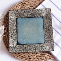 EECAMAIL Japanese Style Underglaze Color Ceramic Tableware Western Dish Sushi Plate Snack Plate Square Plate Household Tableware