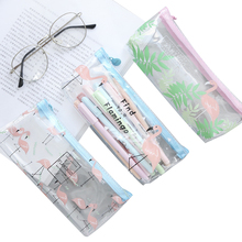 10pcs/lot Korean Version Transparent Literary Flamingo Pencil Case Large Capacity Student Bag Office School Supply Girl Gift