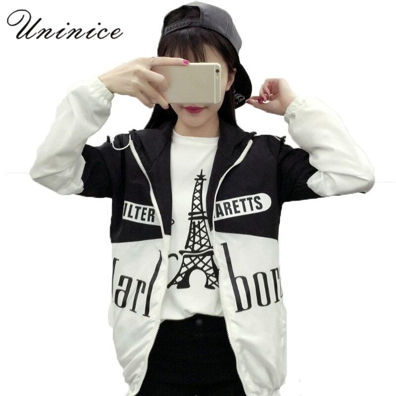 Uninice mujeres chaquetas mujeres clothing palabra impresa chaqueta de malla pri