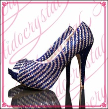 Aidocrystal blue and white gradient crystal high quality top brand peep toe women shoes high heel party dress shoes