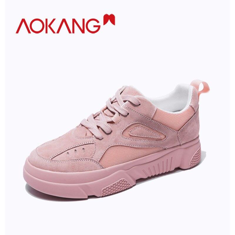 AOKANG Women Shoes Casual New Chunky Sneakers For Women Vulcanize Shoes Casual Tenis Feminino Platform Colors Sneakers Basket