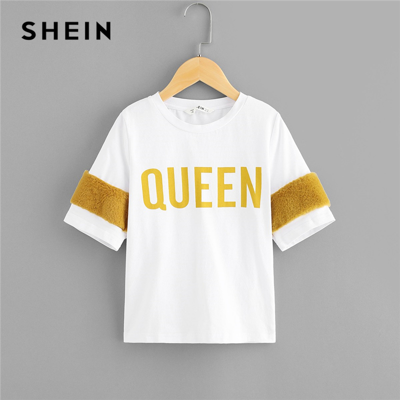 SHEIN Kiddie White Faux Fur Embellished Colorblock Letter Print Girls Tee Shirts 2019 Summer Short Sleeve Casual Kids T Shirt