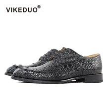 Vikeduo 2018 Hot Luxury Handmade Black Crocodile Shoes Male Designer Genuine Leather Dress Wedding Party Shoe