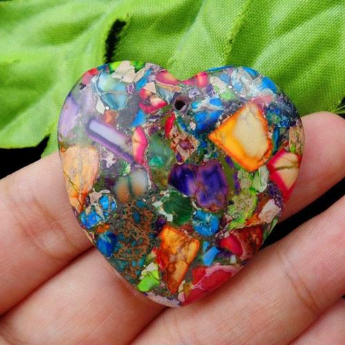 45x35x7 mm 67.05 Cts. Natural Sea Sediment Jasper With Pyrite Pendant Gemstone Heart Shape Blue Color