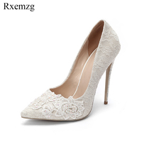 Rxemzg big size 34 45 2019 new fashion rhinestone lace white wedding shoes bride shallow high heels women pumps sexy party shoes