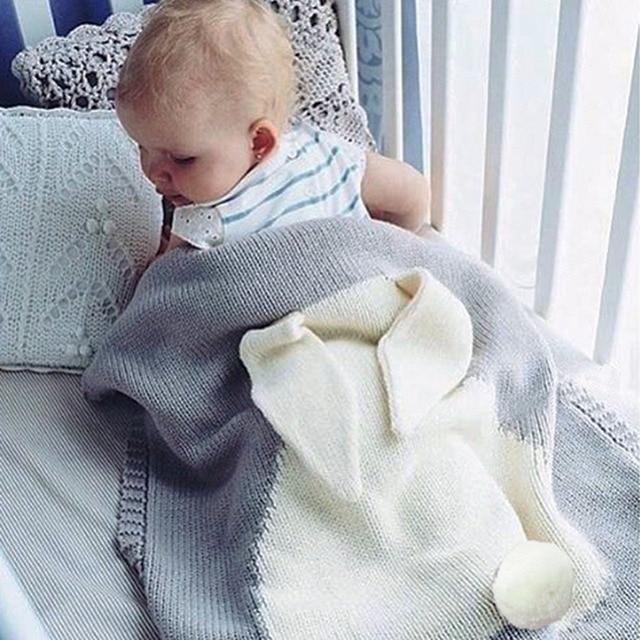 73*108cm Baby Toddler Bedding Knitted Baby Blanket Wrap Soft Blankets Newborn Big Rabbit Ear Swaddling Kids Gift Girls Blankets