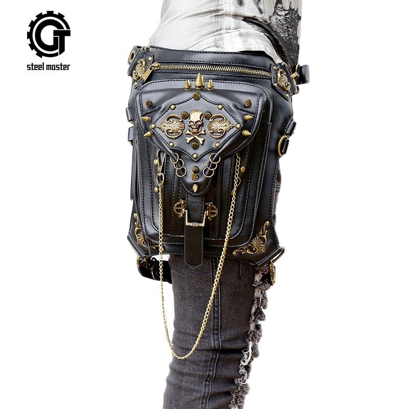 Gothic Steam Punk Bag Skull Retro Rock Bag Women Waist Leg Bags Gothic Black Leather Messenger
