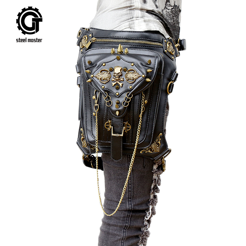 Gothic Steam Punk Bag Skull Retro Rock Bag Women Waist Leg Bags Gothic Black Leather Messenger Bags 2017 New