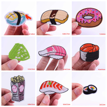 Pulaqi Japan Food Sushi Patches Clothes Stickers Embroidery For Clothing Iron Sew On Thermo