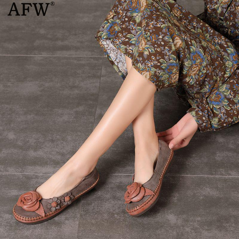 AFW 2018 Women Flower Spring Leather Shoes Slip On Genuine Leather Women Loafers Low Heel Casual Leather Shoes Handmade Flats cresfimix zapatos women cute flat shoes lady spring and summer pu leather flats female casual soft comfortable slip on shoes