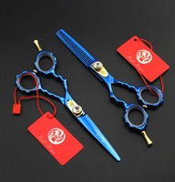 High Quality 5 5 Inch Blue Bamboo Handle Thinning Scissors Hair Cutting Shears Professional Barber Scissors