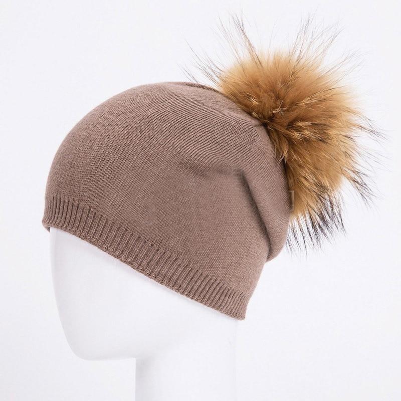 HEE GRAND/женская шапка, зимние вязаные шапки унисекс из шерсти енота, шапки с перьями для мужчин, меховая шапка куполообразная, Прямая поставка PMT089 - Цвет: Color-12