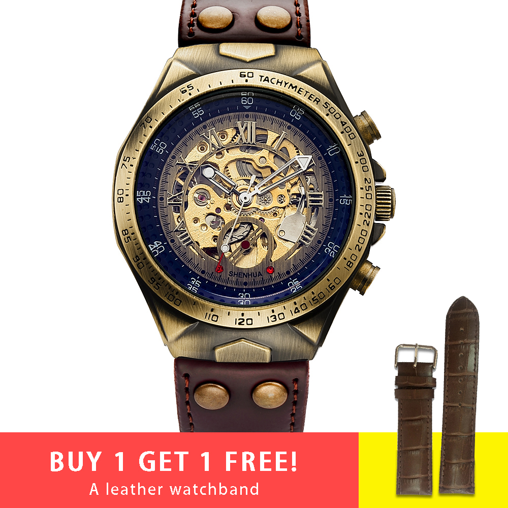 Steampunk Bronze Automatic Watch Men Mechanical Watches Vintage Retro Leather Transparent Skeleton Watch Man Clock montre homme
