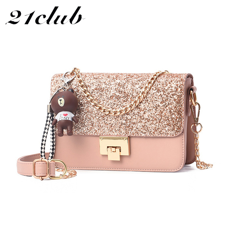 21club brand ladies sequins strap casual versatile small flap party shopping fashion summer style women shoulder crossbody bags