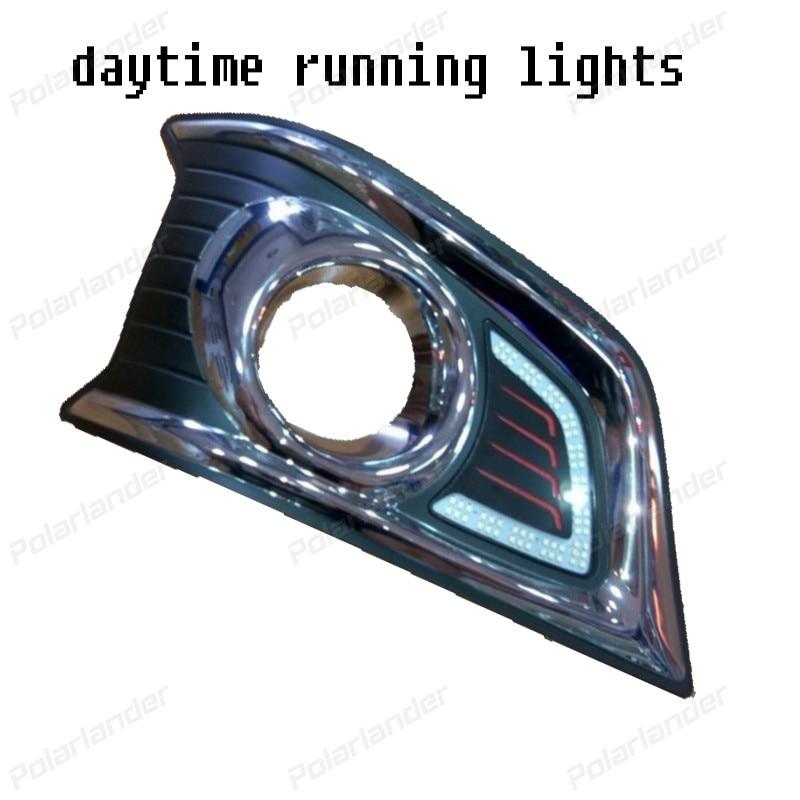 2PCS/lot DRL waterproof ABS auto part Car LED Fog lamp 12V Daytime Running Lights for T/oyota V/igo 2012 2015