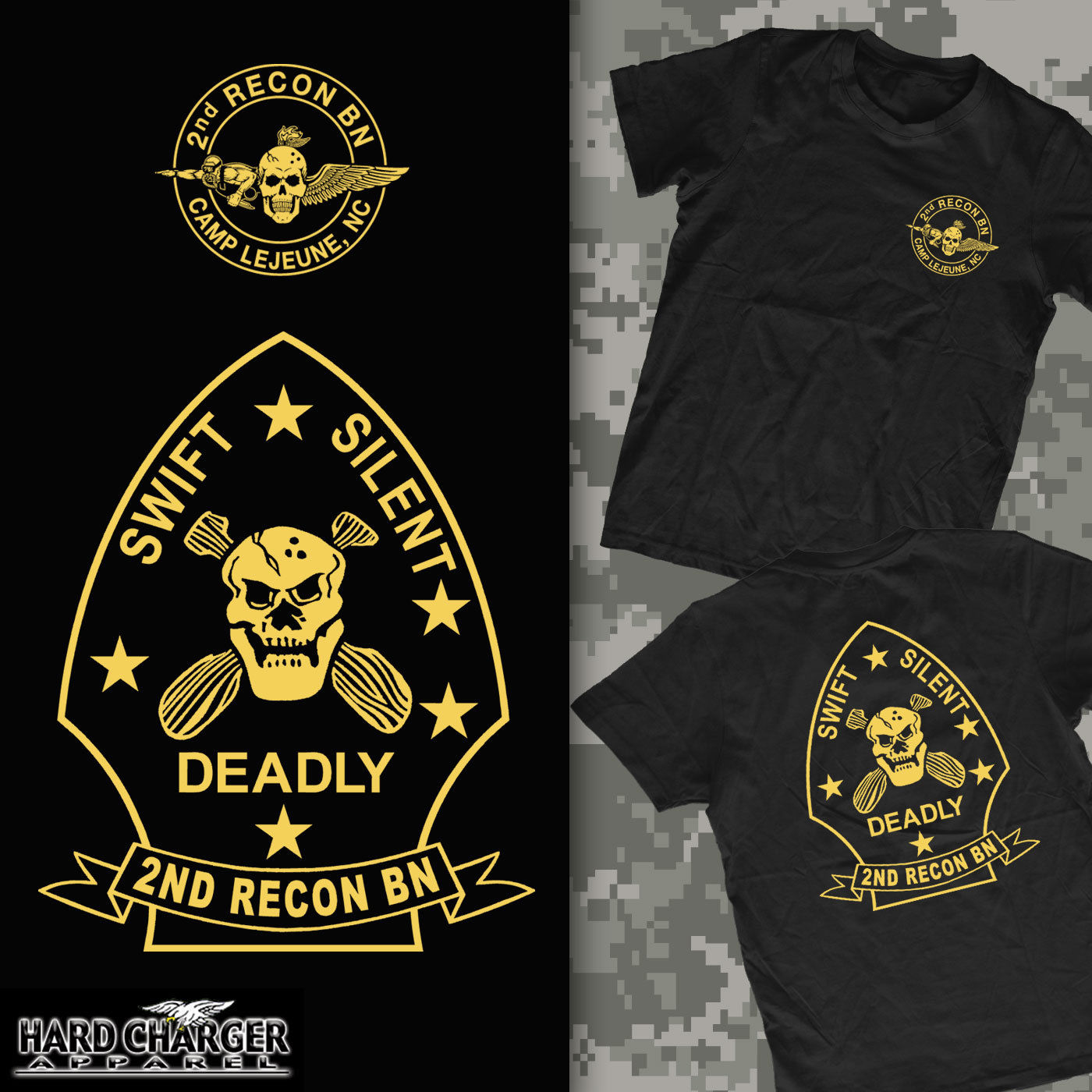 2019 Fashion Hot sale Marine Corp 2nd Recon Battalion Camp Lejeune, NC Onslow Beach <font><b>USMC</b></font> <font><b>T</b></font>- <font><b>shirt</b></font> <font><b>T</b></font> <font><b>shirt</b></font> image