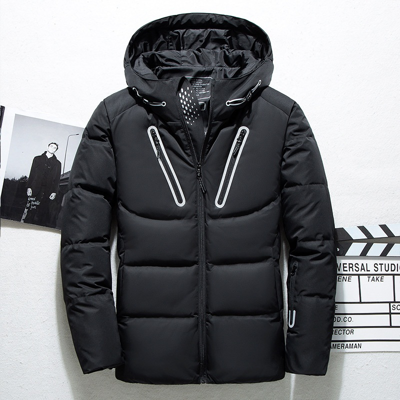 NEW Men's   Down   Jacket Outdoor Sport   Down     Coats   Male thicken Thermal solid Hooded Jackets epaulet 2019 Autumn Winter
