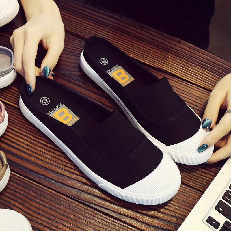 rouge Été Casual Étudiants Paresseux Coréenne Pantoufles Sans Femelle gris Blanc Noir Nouveau Chaussures blanc Toile Plates Talon g4n0rxgZw