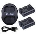 Probty 2 * EN-EL15 EN EL15 Camera bateria Li - ion Battery & carregador Dual USB para Nikon D800 D600 D7000 D800E V1 MB-D11 MB-D12