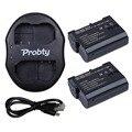 Probty 2 * EN-EL15 EN EL15 cámara batería recargable de Li ion y cargador Dual USB para Nikon D800 D600 D7000 D800E V1 MB-D11 MB-D12 Battery