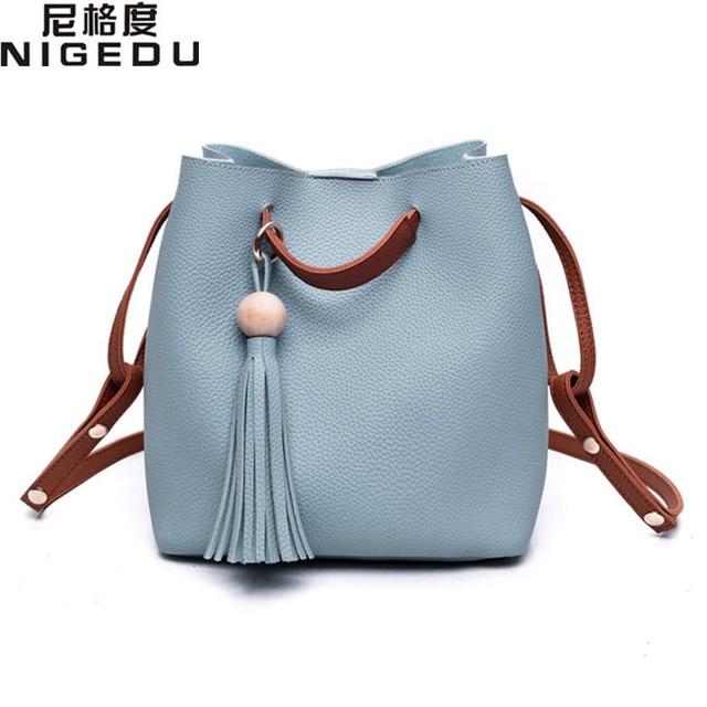 Kpop Tassel Bead Bucket Bag for Women's Shoulder Crossbody bag PU leather lady Composite bag bolsa franja Ladies handbags Totes
