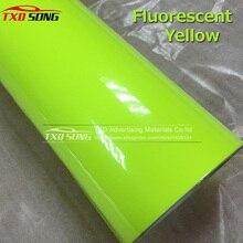 Высококачественная Глянцевая флуоресцентная желтая виниловая наклейка без воздушных пузырей флуоресцентная виниловая пленка для украшения кузова автомобиля