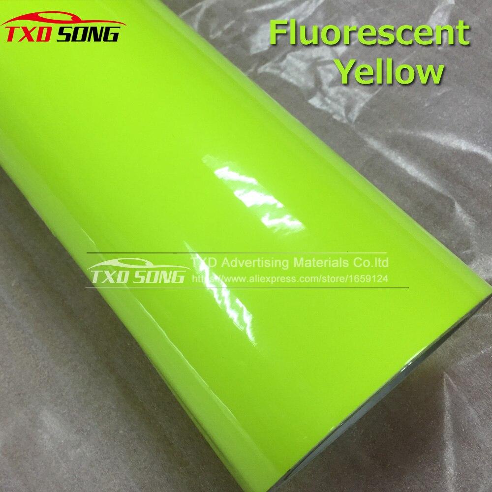 Qualidade Premium Glossy Adesivo de Vinil Com bolha de ar livre Fluorescente Fluorescente Amarelo Película do Envoltório do Vinil Para O Corpo Do Carro decoração