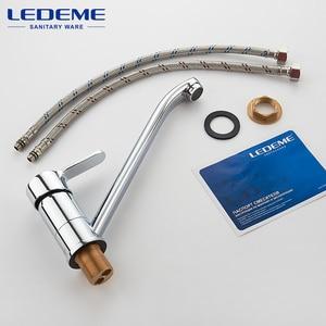 Image 5 - LEDEME grifos de cocina con un solo tirador, grúa de un solo orificio, grifo mezclador de fregadero cromado, L4903
