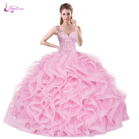 Waulizane Candy Color Ball Gown Quinceanera Dress With Elegant Ruffles Organza V Neckline Design