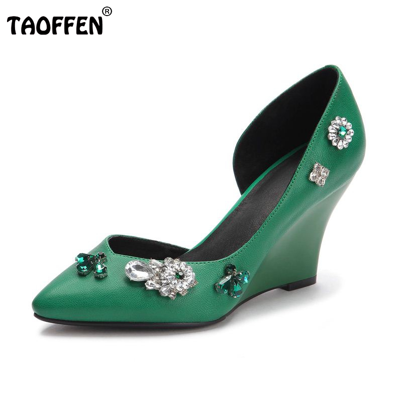 women real genuine leather crystal wedge high heel shoes woman sexy party fashion brand pumps lady heels shoes size 34-39 R7181 best selling european genuine leather super high heel wedge slippers women floral wedge pumps summer shoes 4 color ml2063