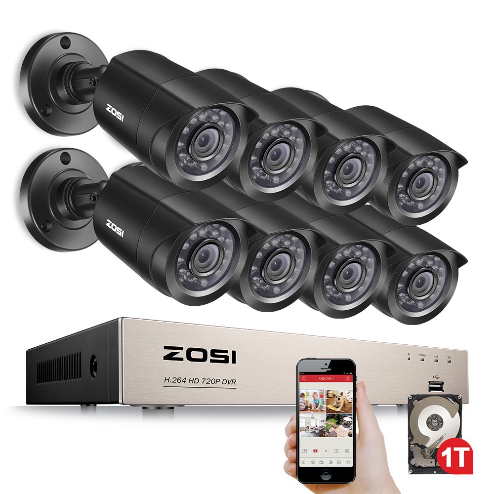 ZOSI 8-Canal 1080N HD-TVI DVR Caméra de Surveillance Kit 8x 1280TVL 720 p Intérieur Extérieur IR Intempéries Caméras 1 tb HDD