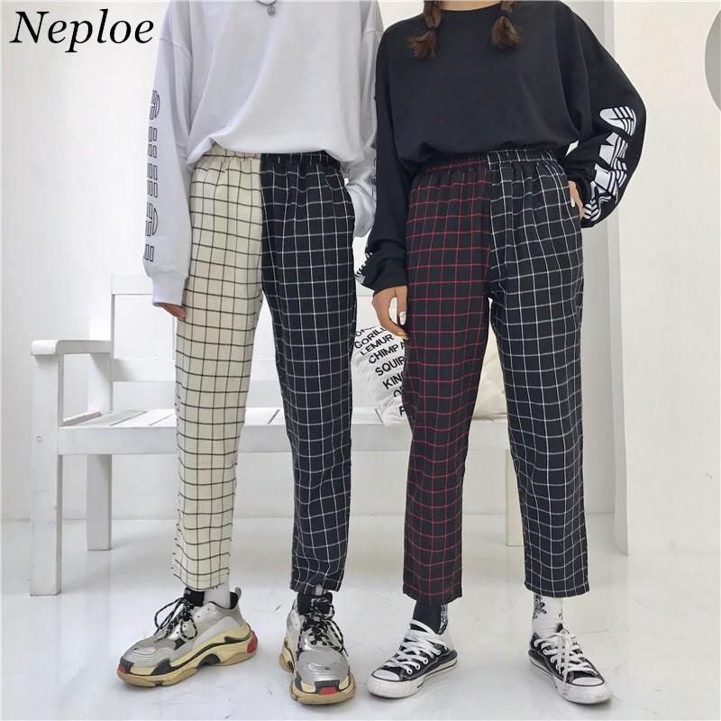 Neploe Vintage Paid Patchwork Pants Harajuku Woman Man Trousers Elastics High Waist Pants Korean Causal Straight Pants 37403 Обувь