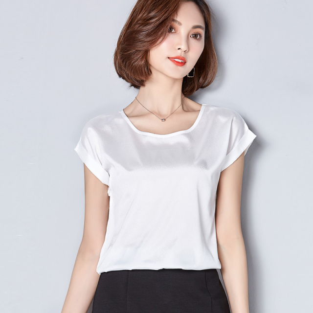 New short sleeve ruffles sleeve white satin blouse shirt women ...
