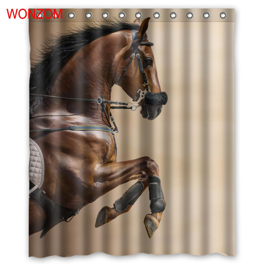 WONZOM Horse Running Polyester Waterproof Accessories Animal Shower Curtain For Bathroom Fabric Bath Curtain With Hooks Gift in Shower Curtains from Home Garden