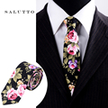 Boda de La marca de Bolsillo de Algodón Cuadrada Floral Corbatas Para Hombres Traje Corbatas Gravatas Delgados Vestidos Pañuelo Corbata Pañuelo Masculino