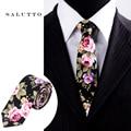 Brand Wedding Pocket Square Cotton Floral Ties For Men Suit Gravatas Corbatas Slim Vestidos Neck Tie Cravat Male Handkerchief