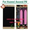 Ouro preto branco para huawei p8 screen display lcd com tela de toque digitador assembléia com frame para ascend p8 lcd
