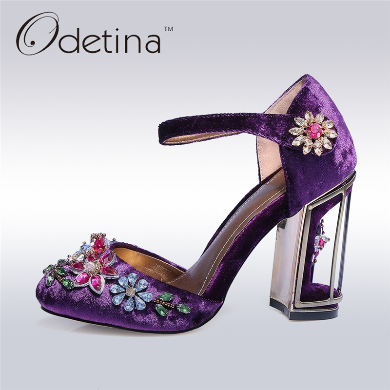 Odetina 2017 Fashion Luxury High Heels Buckle Ankle Strap Women Shoes Flower Pumps Crystal Party Wedding Shoes Big Size 33-43 hmsunrise for ipad 10 5 case luxury leather case for apple ipad pro 10 5 inch 2017 tablet with stand function auto sleep wake up