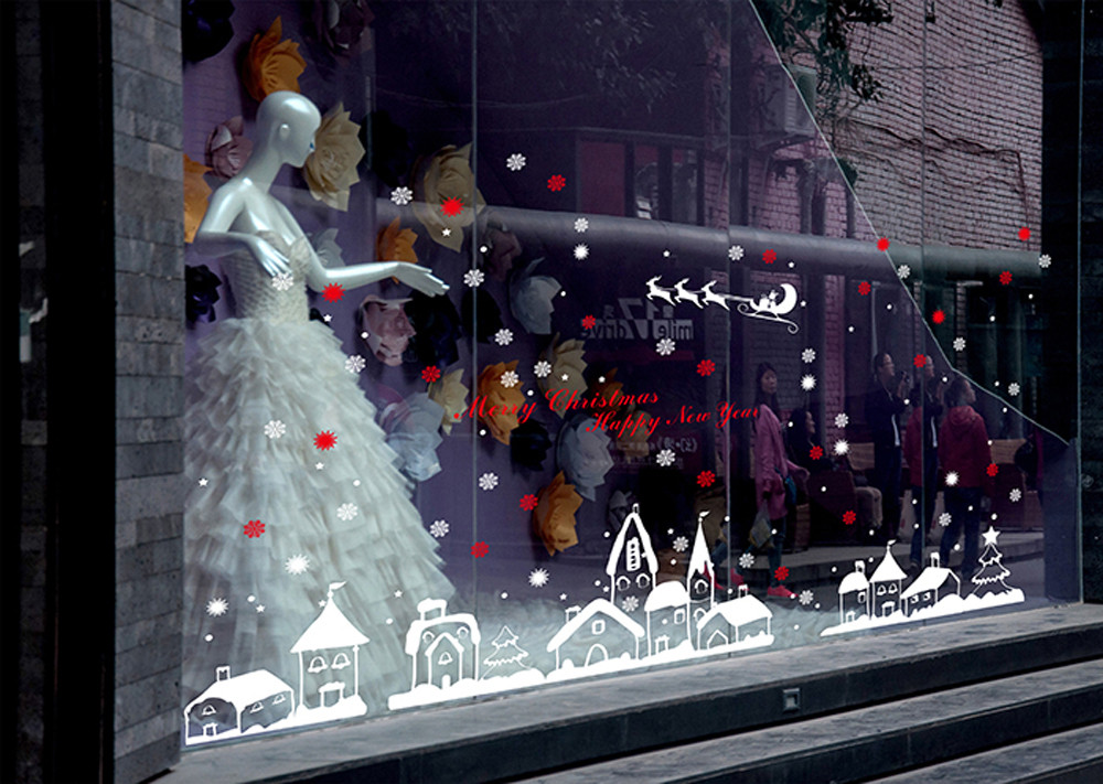 Christmas shop window decoration wall stickers christmas snowflakes town christmas decorations for home christmas window sticker in wall stickers from home