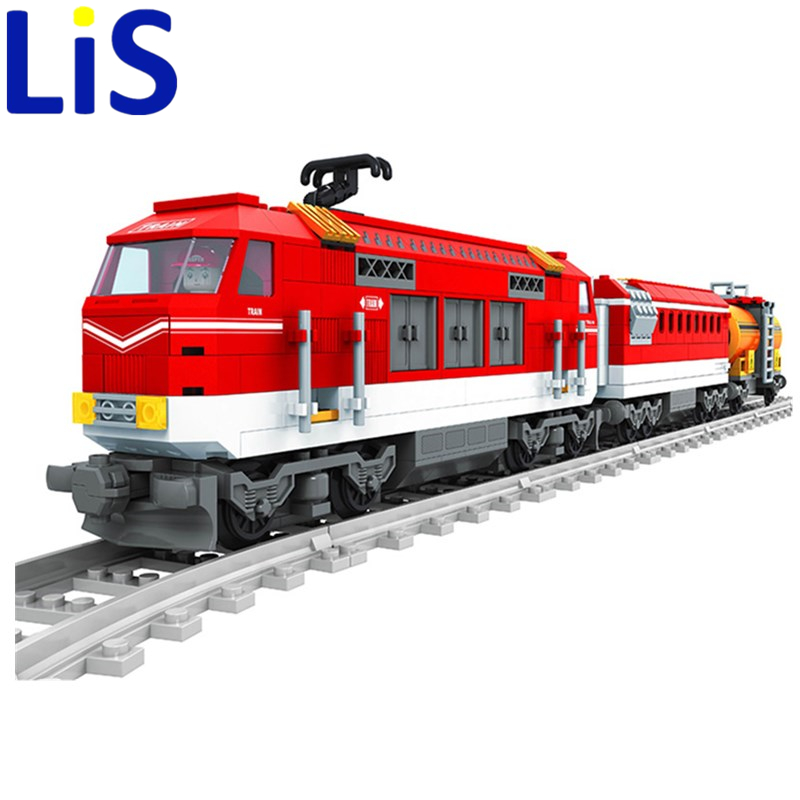 Lis 588pcs City Series Train with Tracks Building Blocks Railroad Conveyance Kids Model Bricks Toys lepin Compatible lepin city town city square building blocks sets bricks kids model kids toys for children marvel compatible legoe