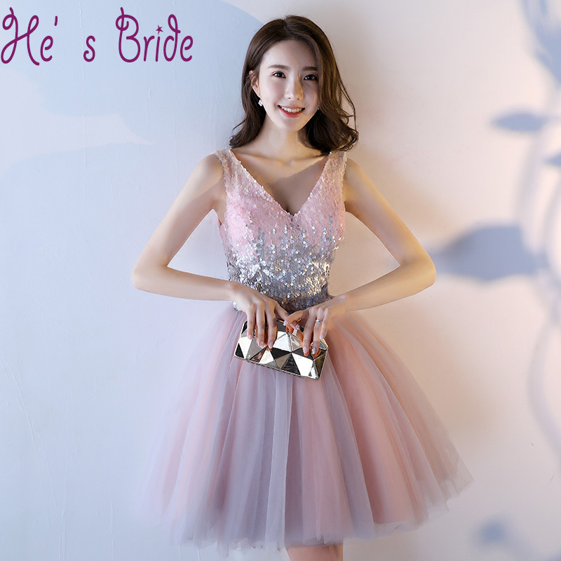 Glittering Sequins Prom Dresses 2017 New Cheap Plus Size Customized Sexy V Neck Sleeveless Tulle Knee-length Evening Party Dress