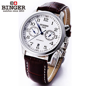 Luxury Mens Binger New Leather Strap Automatic Self-Wind Watches For Men brown Brand Watch White Dial Digital Wristwatch Sales какой видеорегистратор за 2000 р