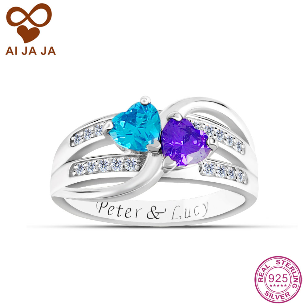 Aijaja Personalized 925 Sterling Silver Name Birthstones Infinite Engagement  Rings Customized Engraving Names Word Wedding Rings