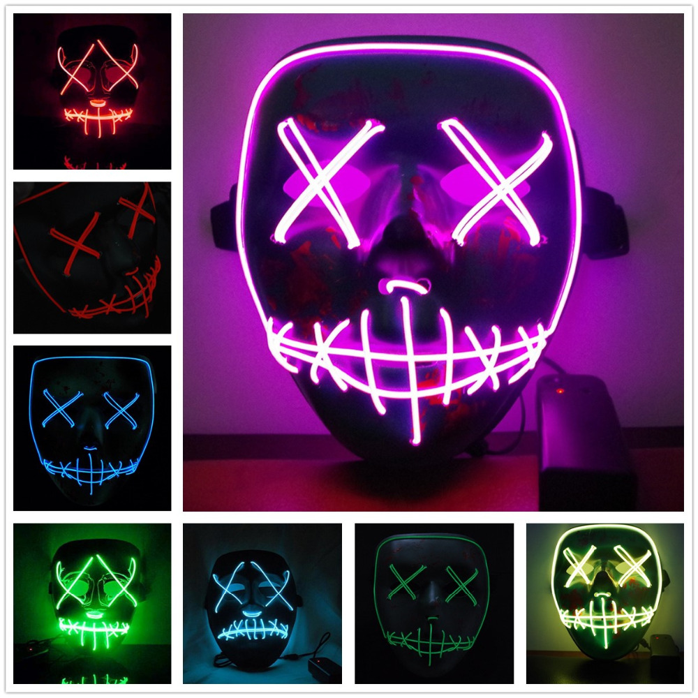 Epacket LED Light Mask Up Funny Mask from The Purge Election Year Great for Festival Cosplay Halloween Costume 2018 New Year Cos
