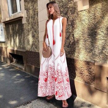 European hot Women's Clothing Oriental Flower Vintage Tassel red Long sun dresses Summer Sleeveless Loose Plus large Size 3XL